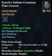 Exarch's Solemn Ceremony Plate Greaves
