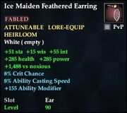 Ice Maiden Feathered Earring