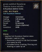 Green-saddled Rujarkian Destrier horse whistle