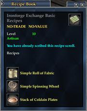 Ironforge Exchange Basic Recipes