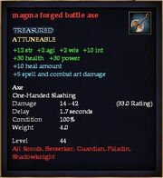 Magma forged battle axe
