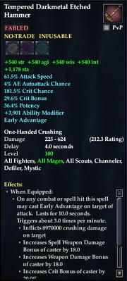 Tempered Darkmetal Etched Hammer