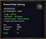 Flawed Ruby Earring