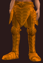 Orange Galvanized Paper Plate Greaves (Equipped)