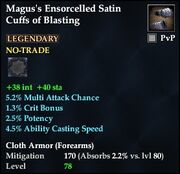 Magus's Ensorcelled Satin Cuffs of Blasting