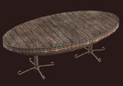 A pristine oval alder table (Visible)