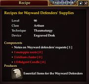 Recipes for Wayward Defenders' Supplies