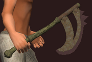 Imbued Iron Crescent Axe (Equipped)
