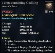 A crate containing Godking Anuks head
