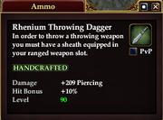Rhenium Throwing Dagger