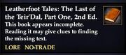 Leatherfoot Tales- The Last of the Teir'Dal, Part One, 2nd Ed. (Quest Starter)