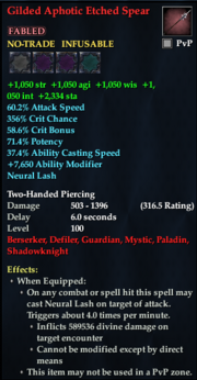 Gilded Aphotic Etched Spear