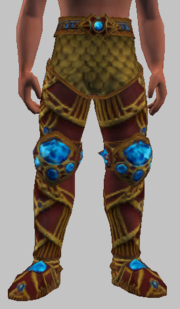Vesspyr Warrior's Simple Red Greaves (Equipped)