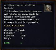 Militia ceremonial officer barbute