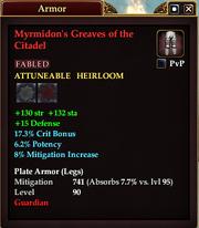 Myrmidon's Greaves of the Citadel
