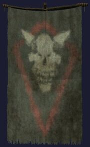 Skull emblazoned banner visible