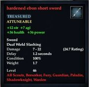 Hardened ebon short sword