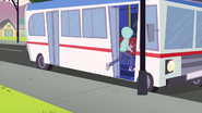 Mystery girl runs back onto the bus EG3