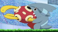 EP654 Gible mordiendo a Shuckle