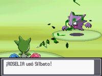 Roselia usando silbato en Pokémon Plata SoulSilver