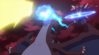 EP939 Pikachu, Mega-Charizard y Greninja Ash atacando.png