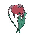 Imagen posterior de Florges flor roja en la sexta generación