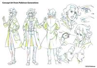 Concept Art de Pokémon Generations del profesor Ciprés