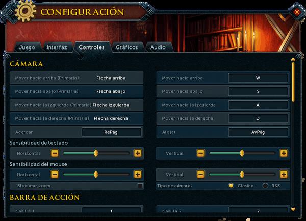 """Interfaz """"Controles"""" de Configuración."""