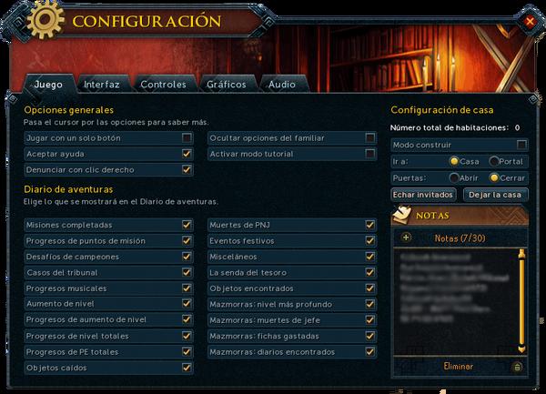 """Interfaz """"Juego"""" de Configuración."""