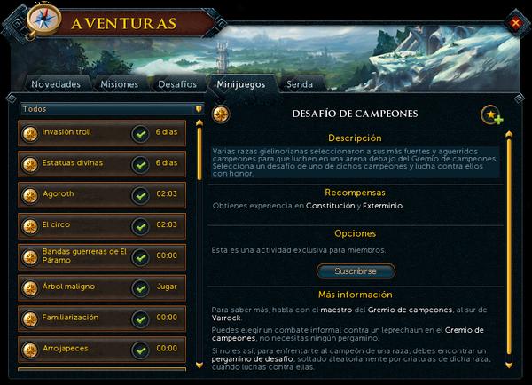 "Interfaz ""Minijuegos"" de Aventuras."