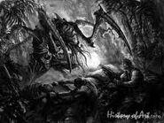 Tiranido atacando a un soldado catachan