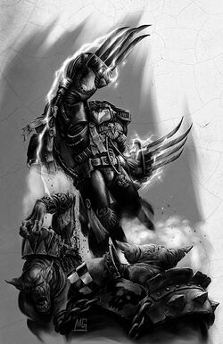 Kayvaan Shrike Capitán Sombrío Tercera Compañía Guardia del Cuervo vs Orkos.jpg