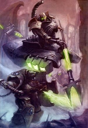 Lider Destructor Necron Exterminador Puños Imperiales Batalla Escudo Tormenta Wikihammer.jpg