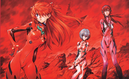 Asuka, Rei and Mari - Sadamoto's Artwork