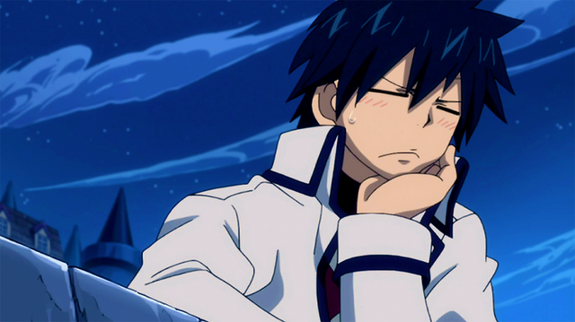 File:Gray blush when Erza mention Juvia.png