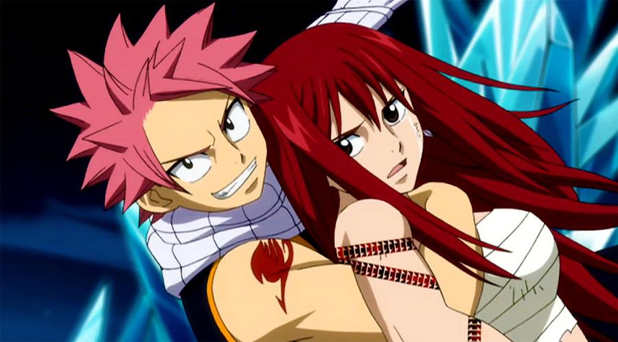Natsu holding Erza