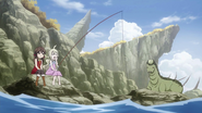 Young Mavis and Zera fishing