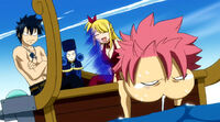 Natsu gets motion sickness on a boat