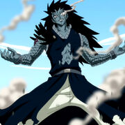 Gajeel after Natsu's breath attack