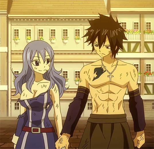 Gray X Juvia Lemon Gray and Juvia holding hands