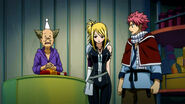 Natsu forces Lucy to buy him a weapon