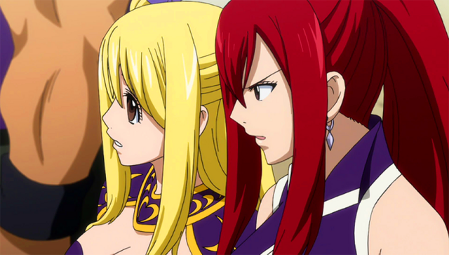 File:Lucy and Erza talk about Wendy.png