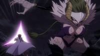 Erza struck by Etherious Kyôka