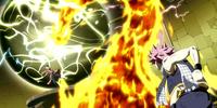 Natsu destroys Jupiter Lacrima