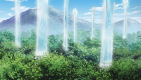 Juvia's Water flooding the forest
