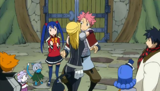 Image - The Group Continues to Watch Lucy Hug Natsu.jpg ...