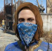 Blue bandana worn