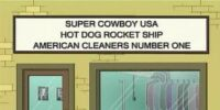 Super Cowboy USA Hot Dog Rocket Ship American Cleaners Number One