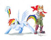 Rainbow dash fox mccloud by primogenitor34-d4gtuq7