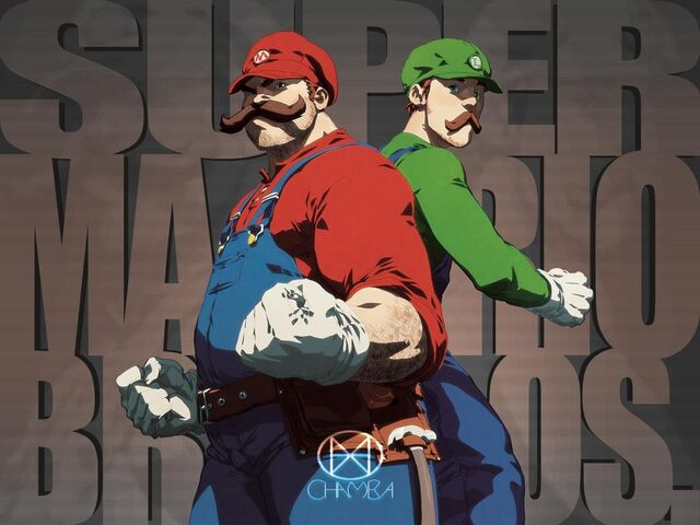 File:Super mario bros artwork mario luigi nintendo wallpaper by lastscionz.jpg